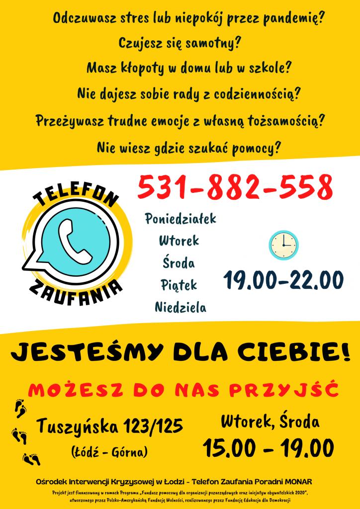Informacja na temat pomocy w formie plakatu
