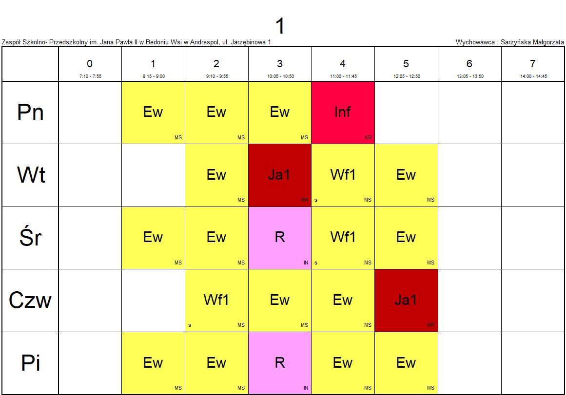 plan lekcji klasa 1