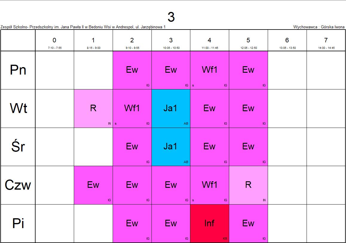 plan lekcji klasa 3