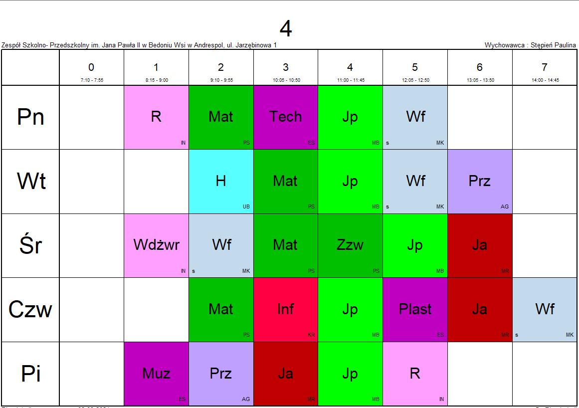 plan lekcji klasa 4