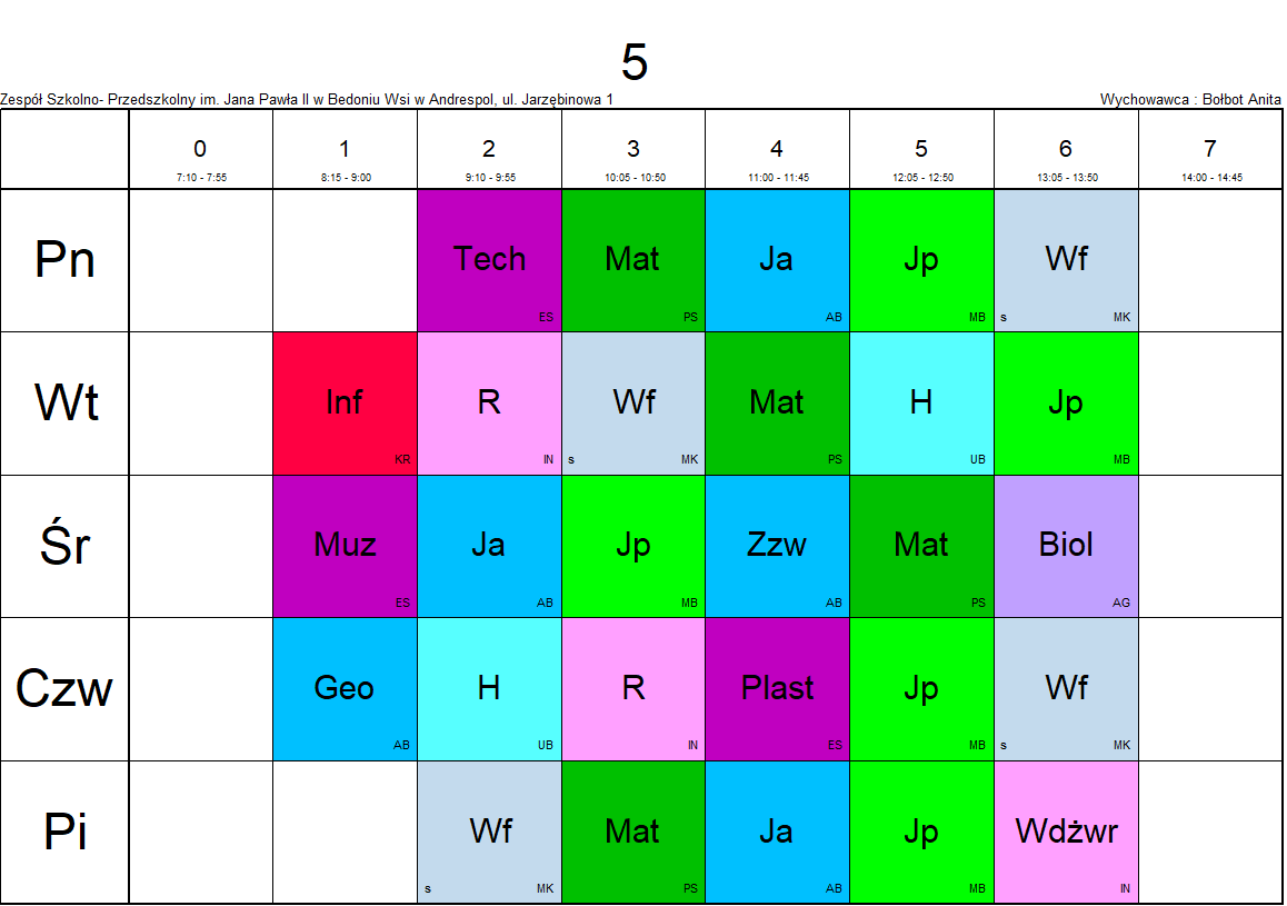 plan lekcji klasa 5