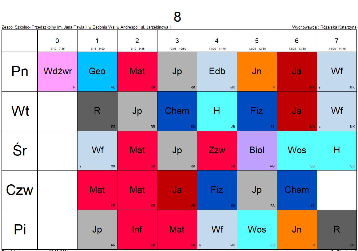 plan lekcji klasa 8
