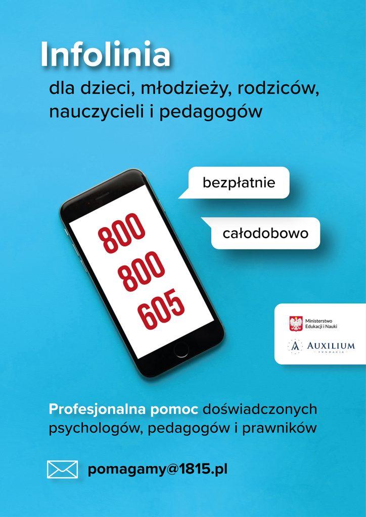 plakat z telefonami o specjalistach
